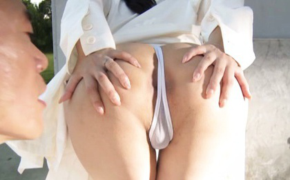 Japanese av model. Japanese AV Model shows cans through nylon and nude anus outdoor